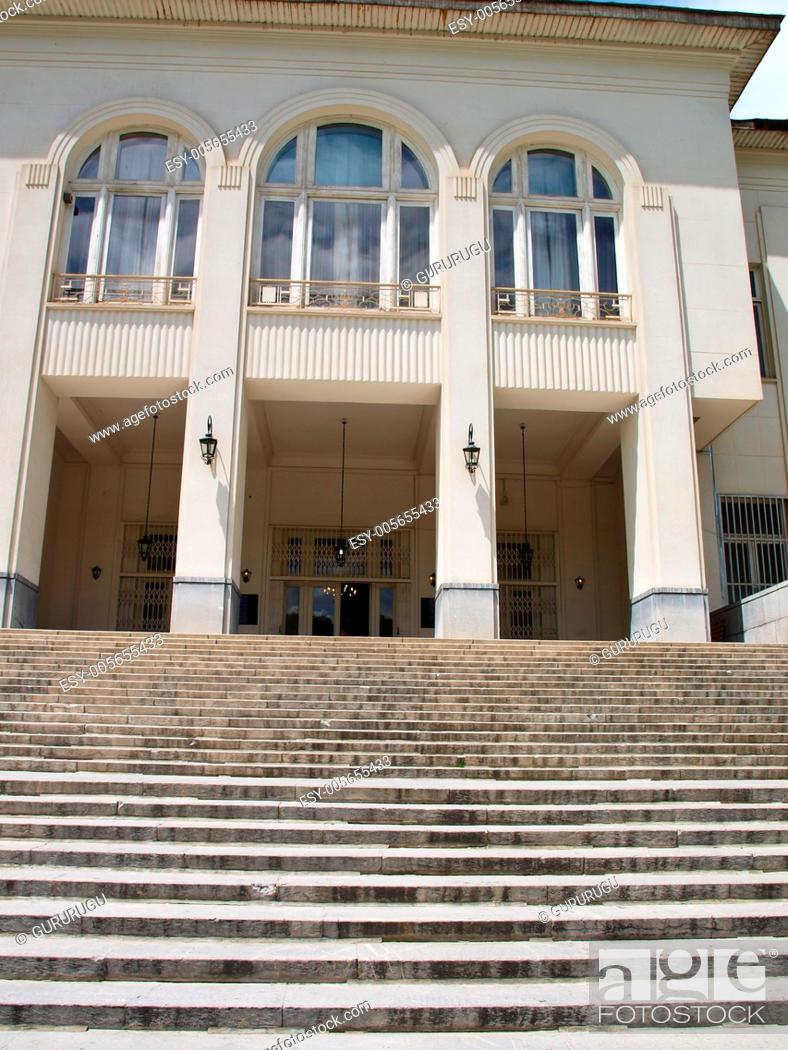 Stock Photo: Entrance of historical building with steps and columns in Tehran, Iran.