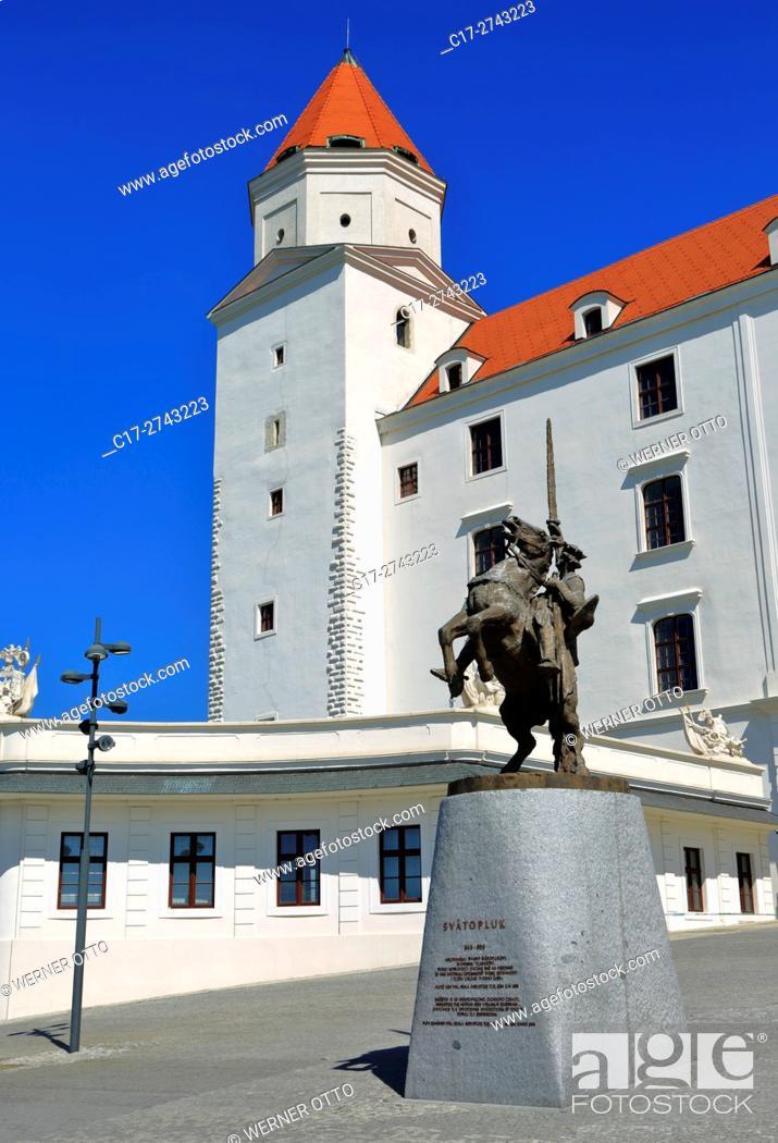 Stock Photo: Slovak Republic, Slovakia, Bratislava, Capital City, Danube, Little Carpathians, equestrian statue Svatopluk I of Moravia on the Bratislava Castle.