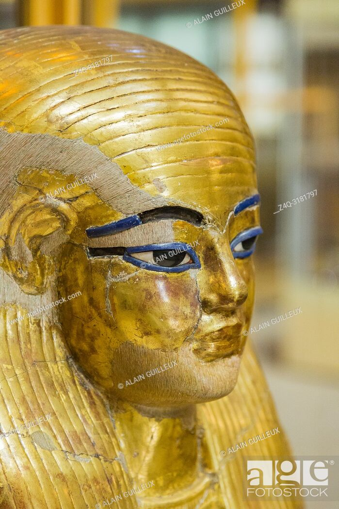 Stock Photo: Egypt, Cairo, Egyptian Museum, from the tomb of Yuya and Thuya in Luxor : Gilded mask of Yuya, made of cloth and plaster.