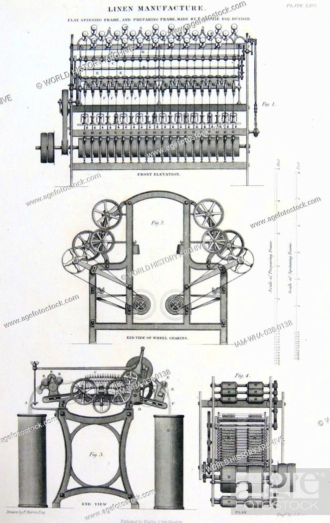 Linen manufacture: Flax spinning and preparing frame by P, Stock ...