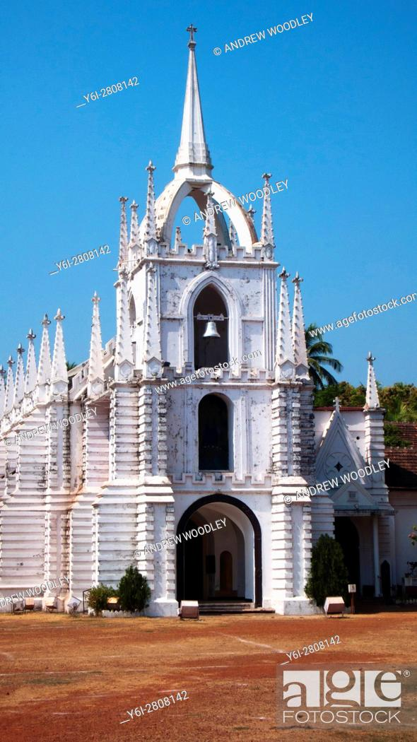 Stock Photo: Saligao Mae de Deus Church Goa India.
