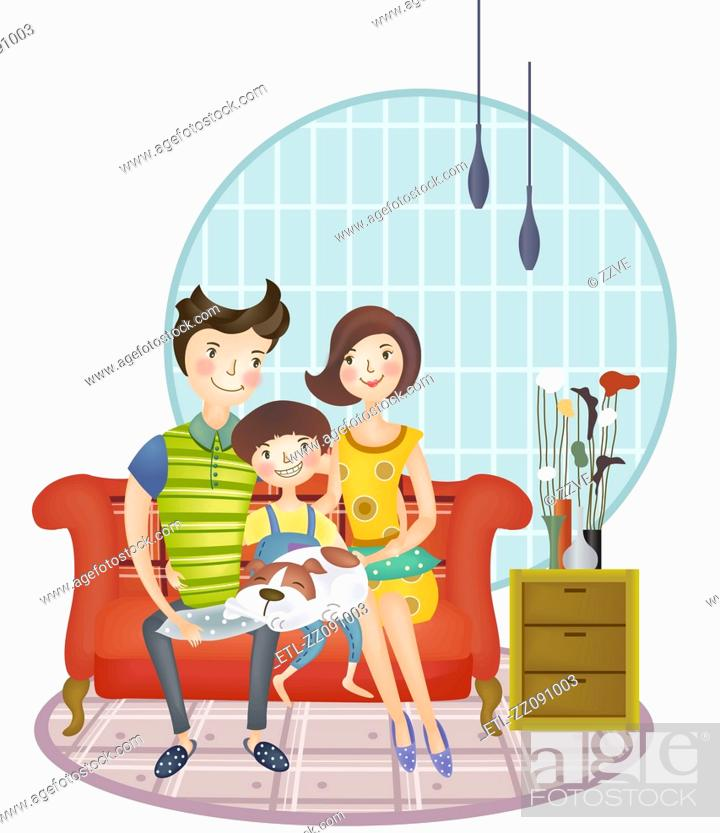 Stock Photo: Portrait of happy family with one Child sitting on sofa.