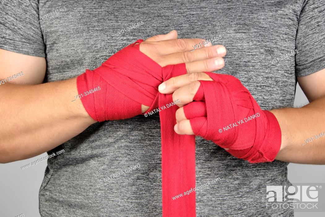 Stock Photo: Adult , Aggression , Athlete , Athletic , Bandage , Black , Body , Boxer , Boxing , Caucasian , Closeup , Combat , Exercise , Fight , Fighter , Fist , Fit.