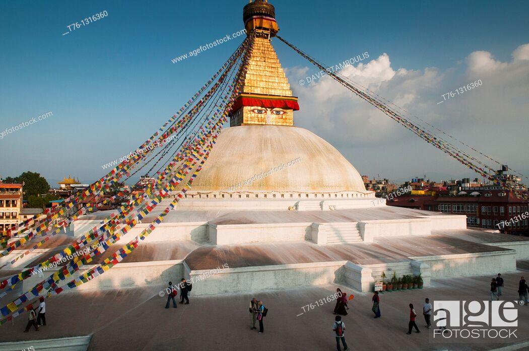 Stock Photo: The eyes of Nepal, the Tibetan Buddhist stupa of Boudhanath in Kathmandu.