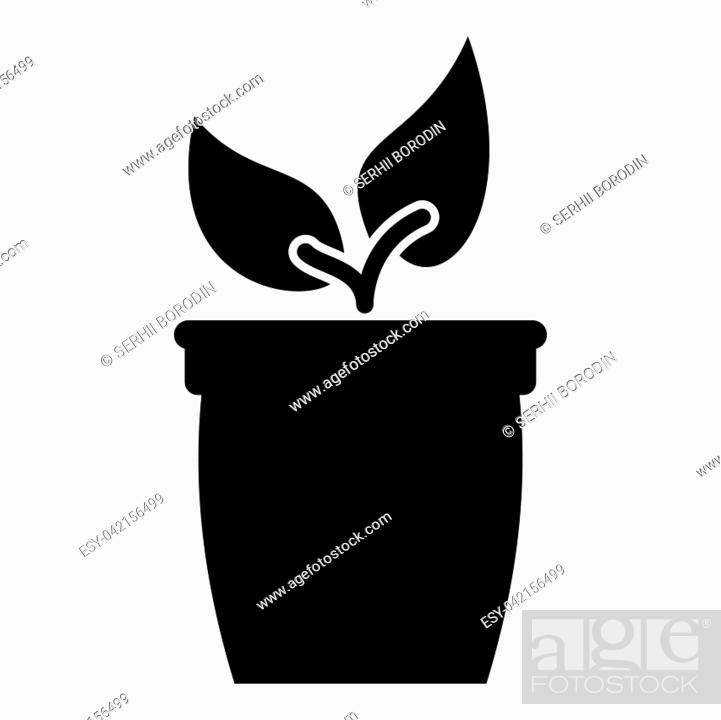 Stock Vector: Flowerpot or pot with plant icon black color vector illustration flat style simple image.