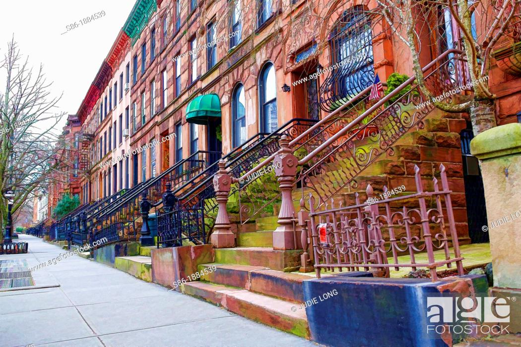 Stock Photo: Brownstone Attached Row Houses in the Park Slope Section of Brooklyn, NY, USA.