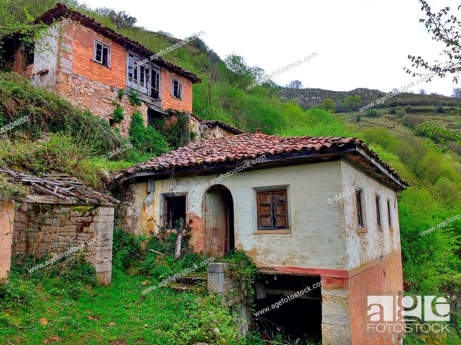 Stock Photo: San Adriano del Monte abandoned village, Grado municipality, Asturias, Spain.
