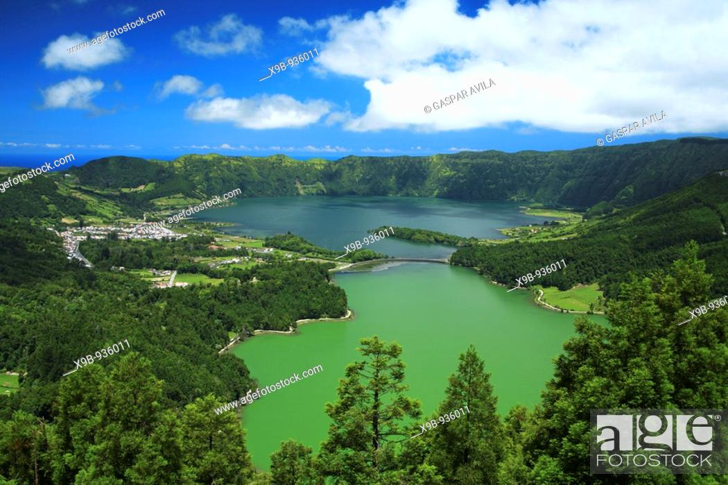 Stock Photo: Sete Cidades crater and the twin lakes  Sao Miguel island, Azores islands, Portugal.