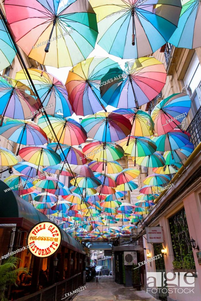 Imagen: Umbrellas hanging in passage, Bucharest, Romania, Europe.