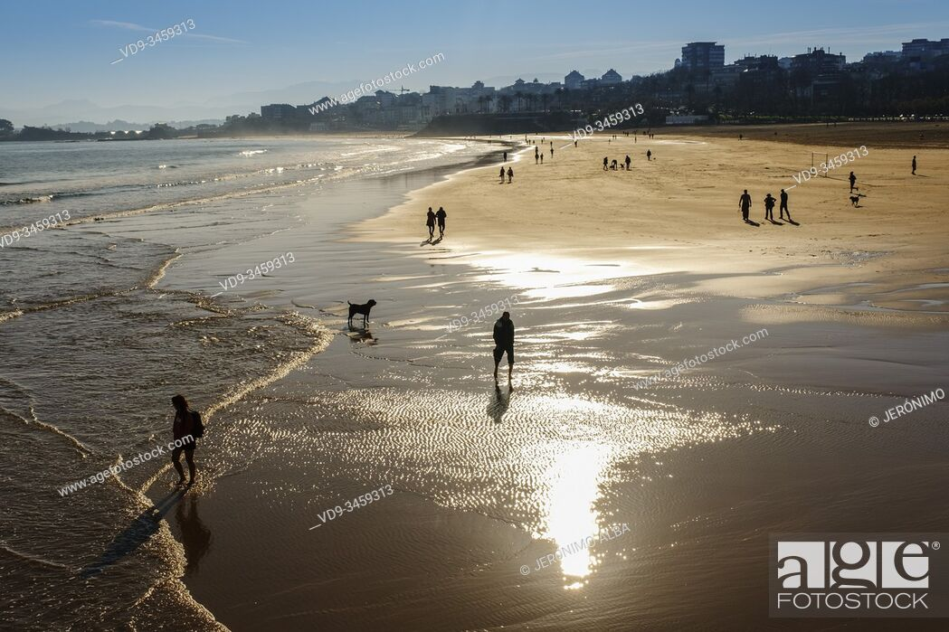 Imagen: Panoramic view, Sardinero beach from the Piquio gardens at sunset, Santander. Cantabria, north Spain. Europe.