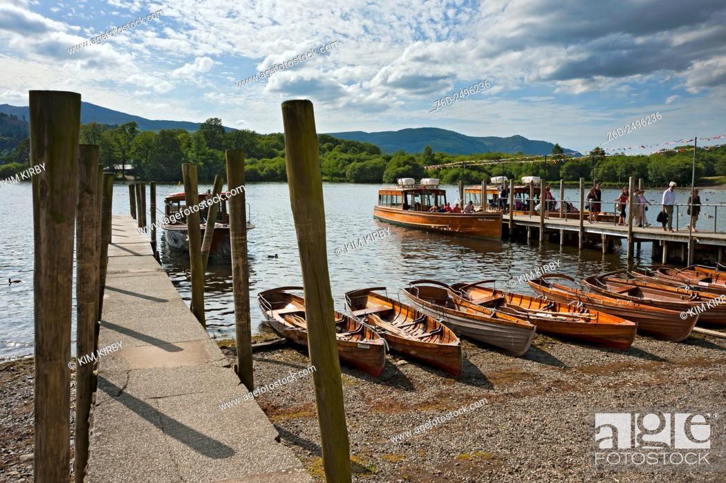 Stock Photo: Boats at the lakeside Derwentwater Keswick Cumbria England UK United Kingdom GB Great Britain.
