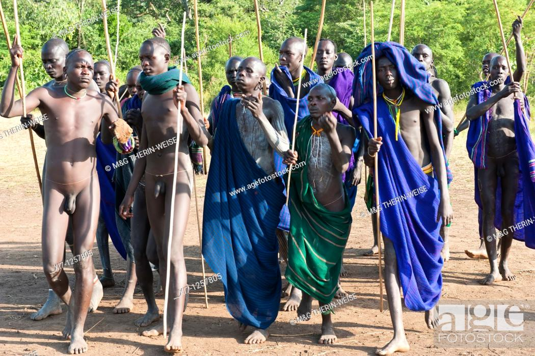 Stock Photo: Donga stick fight ceremony, Surma tribe, Tulgit, Omo river valley, Ethiopia.