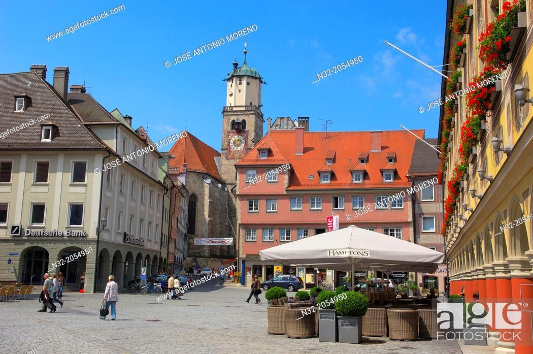 Stock Photo: Memmigen, Allgau, market place, Market Square, Allgaeu region, Swabia, Germany, Bavaria, .