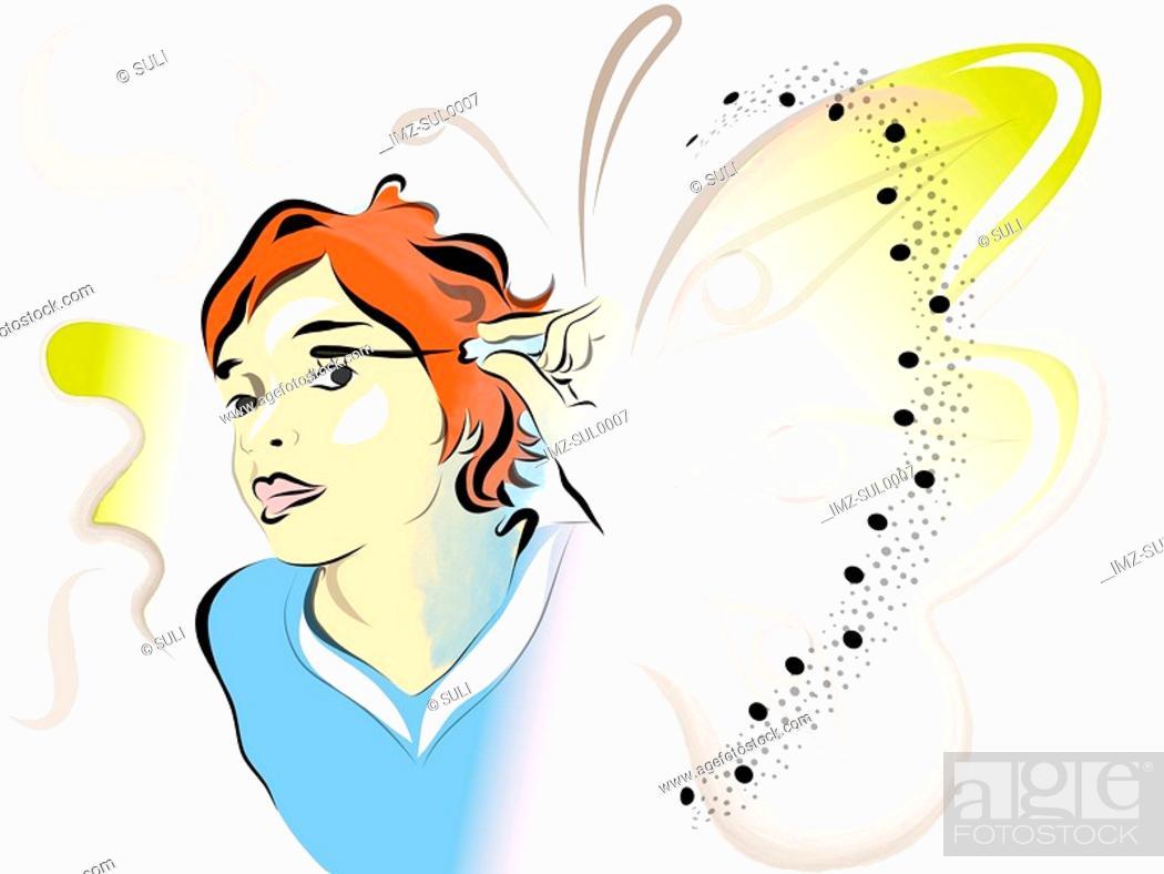 Stock Photo: Illustration of a woman applying mascara.