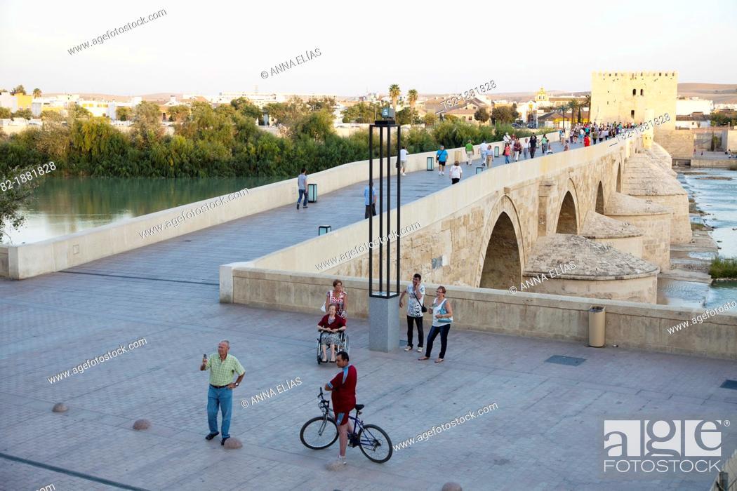 Stock Photo: restored Roman bridge, Cordoba, Andalucia, Spain, Europe.