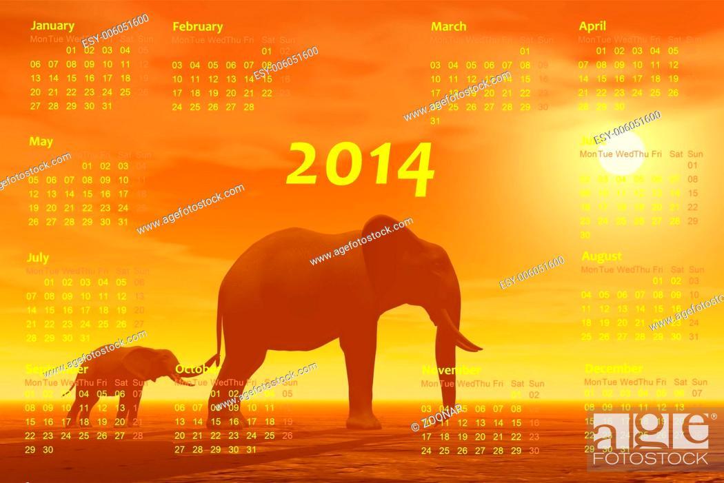 Stock Photo: Elephants 2014 calendar - 3D render.
