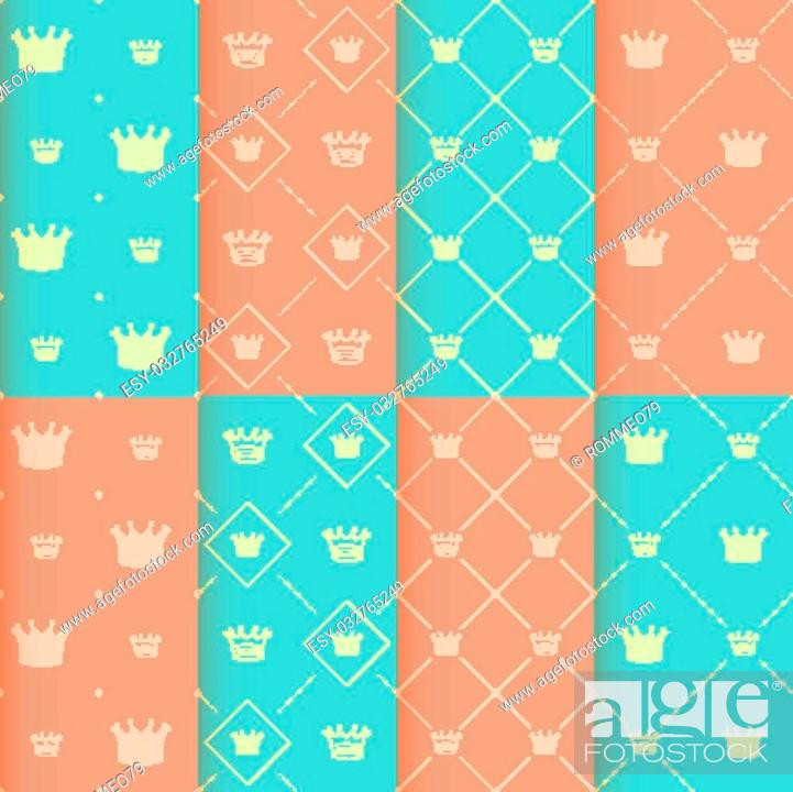 Stock Vector: Simple seamless vector pattern with crown art.