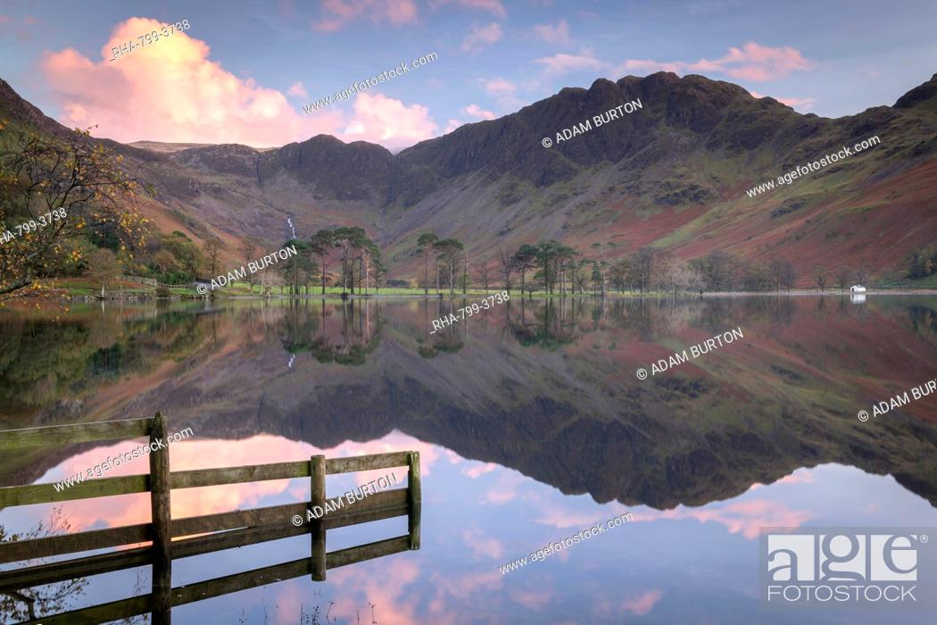 Stock Photo: Perfectly still Buttermere at sunset, Lake District National Park, UNESCO World Heritage Site, Cumbria, England, United Kingdom, Europe.