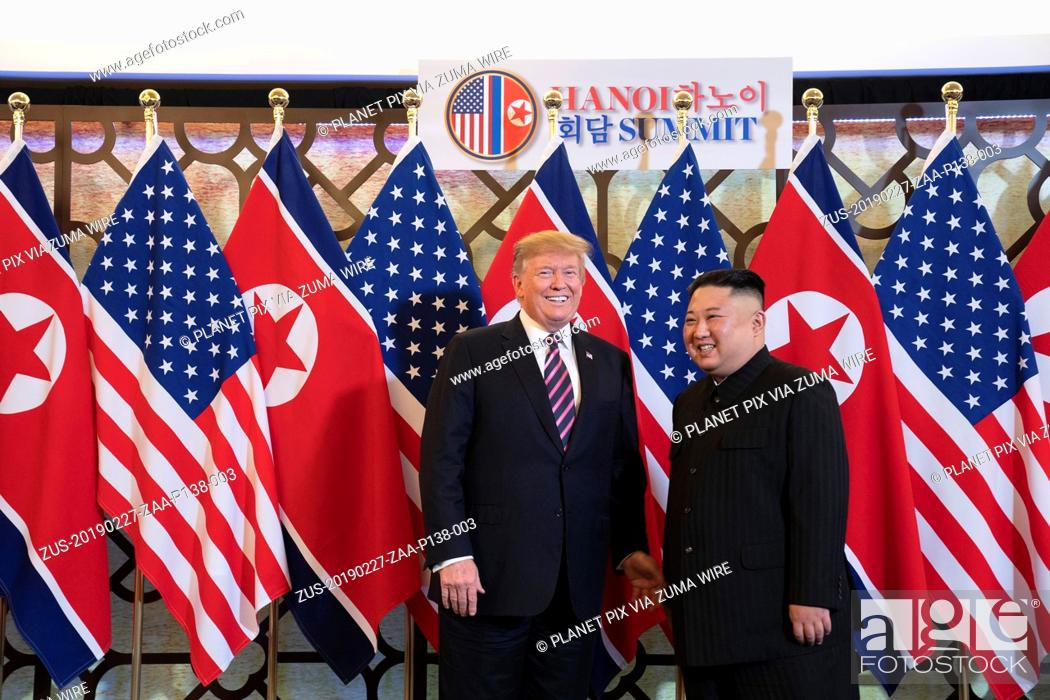 Stock Photo: February 27, 2019 - Hanoi, Vietnam - U.S President Donald Trump and North Korean leader Kim Jong Un greet prior to a bilateral meeting at the Sofitel Legend.
