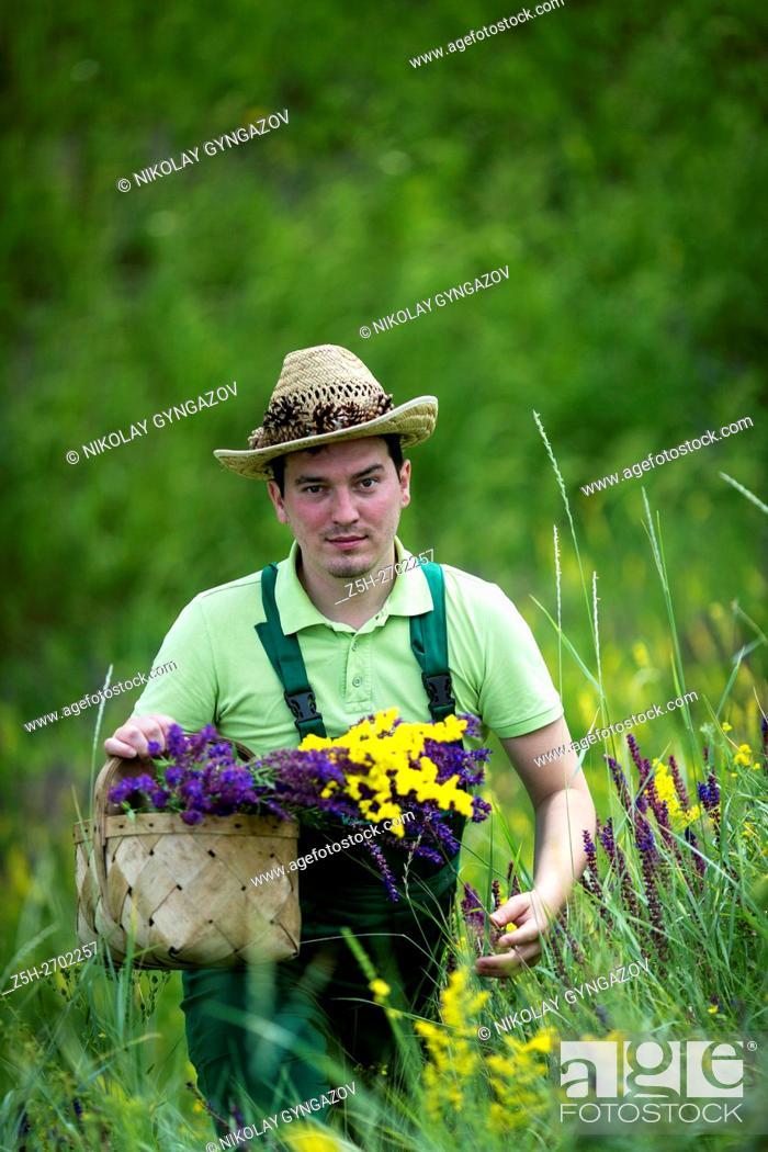 Stock Photo: Russia. Belgorod region. Young man in the field to gather herbs.