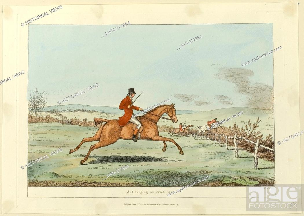 Stock Photo: Charging an Ox-fence, plate three from Indispensable Accomplishments - published June 24, 1811 - Sir Robert Frankland (English.