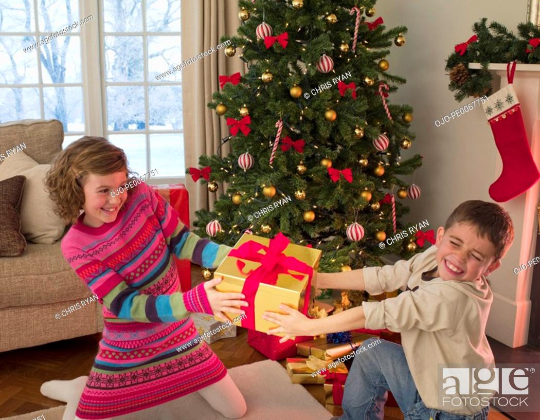Stock Photo: Boy and girl tugging at Christmas gift in living room.