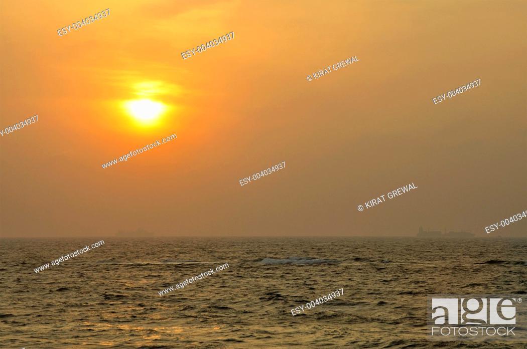 Stock Photo: Sunset at the ocean in Sri Lanka.