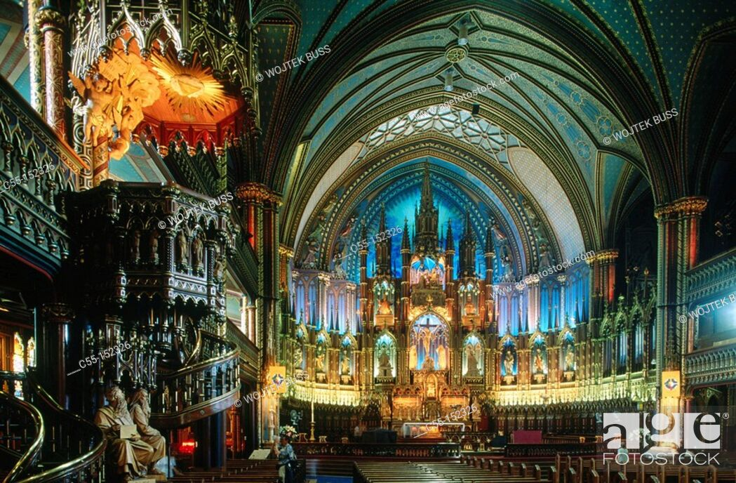 Stock Photo: Canada. Quebec. Montreal. Notre Dame Cathedral.