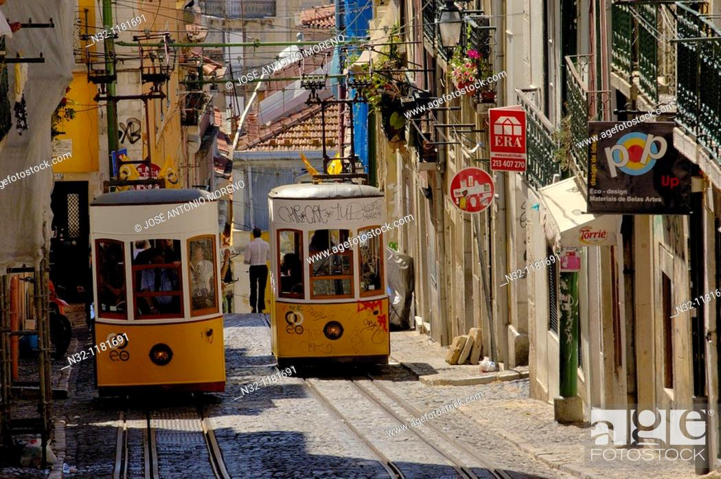 Stock Photo: Lisbon, Elevador da Bica Bica cable car, Bairro Alto, Rua da Bica de Duarte Belo, Portugal  Europe.