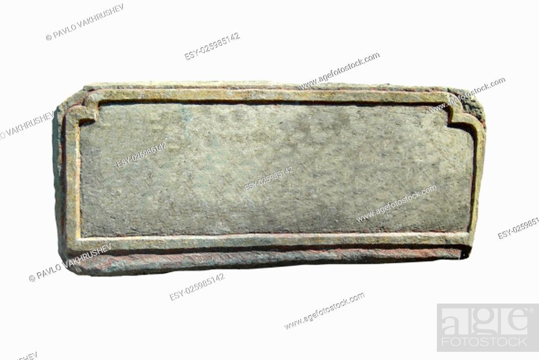 Stock Photo: Old stone with empty space isolated on white.