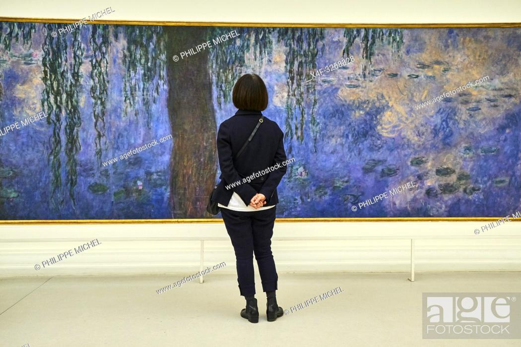 Stock Photo: France, Paris, les Tuileries, museum of Orangerie, Nymphéas by Claude Monet.