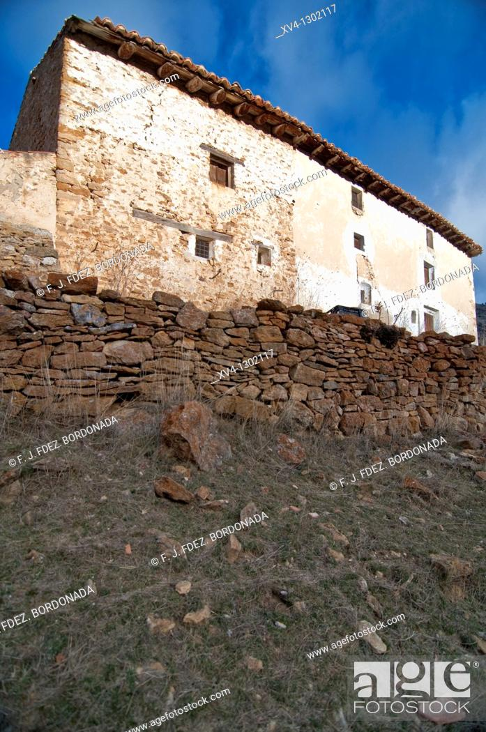 Stock Photo: Fortanete village in winter, Teruel province, Aragon, Spain.