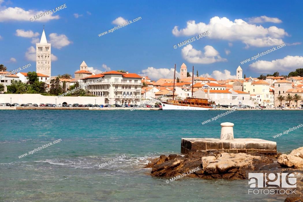 Stock Photo: View to the Old Town of Rab, island Rab, Kvarner bay, Croatia.
