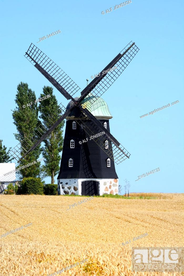 Stock Photo: Old windmill in Hagestad, Ystad community, Scania, Sweden.