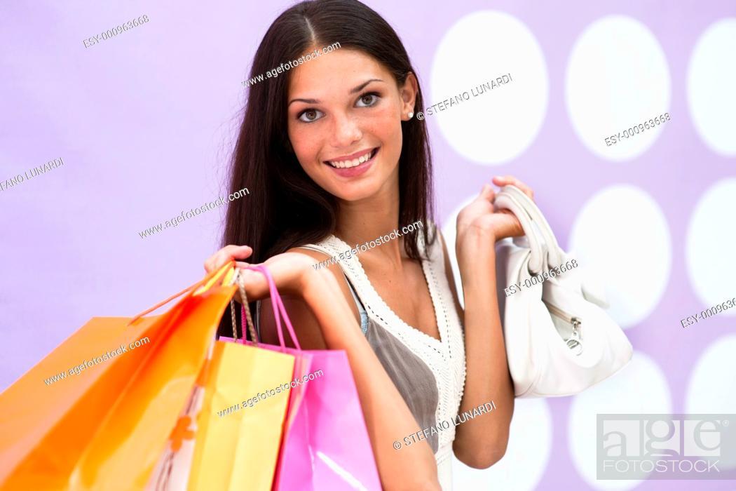 Stock Photo: Beautiful shopping girl.
