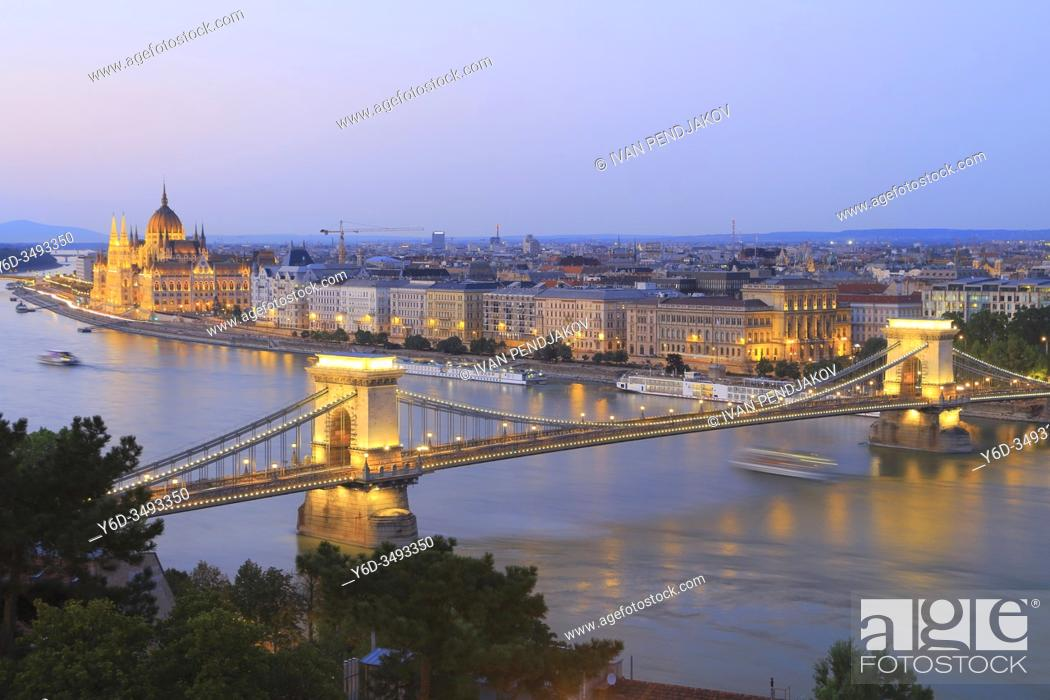 Stock Photo: Budapest at Dusk, Hungary.