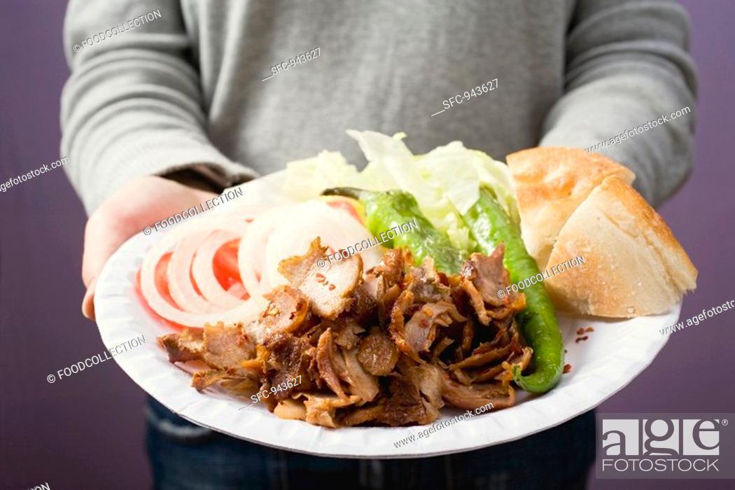 Stock Photo: A portion of döner kebab.