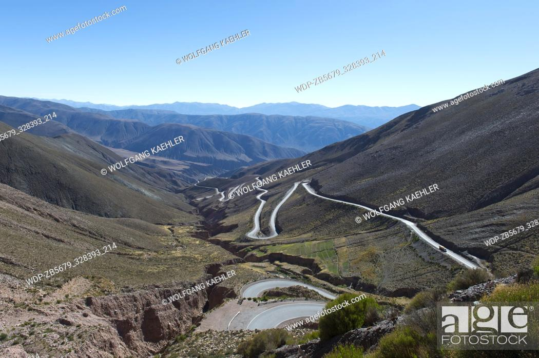 Stock Photo: View from Lipan Pass of Highway 52 in the Andes Mountains near Purmamarca, Jujuy Province, Argentina.