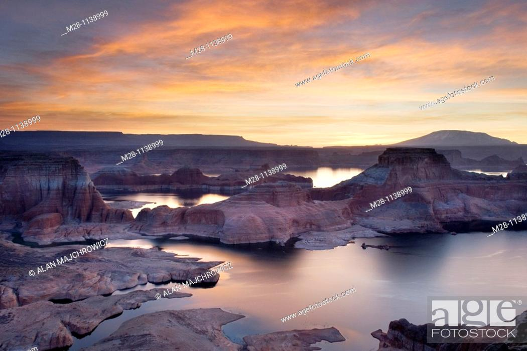 Stock Photo: Sunset over Padre Bay and Lake Powell from Alstrom Point, Glen Canyon National Recreation Area Utah.