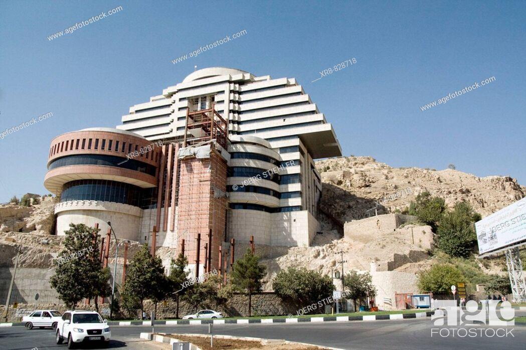 Stock Photo: Iran, Shiraz, Hotel, Koran Square.