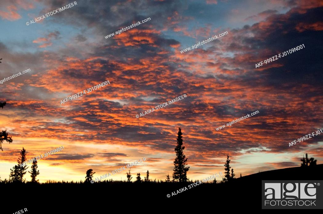 Photo de stock: Brilliant orange sunset in Alaska Range, Interior Alaska, Fall.