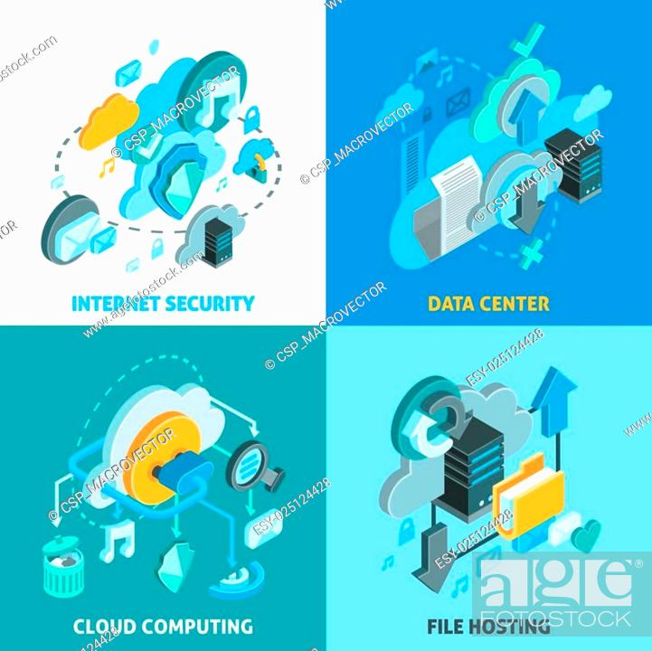 Stock Vector: Cloud Services Concept Icons Set.
