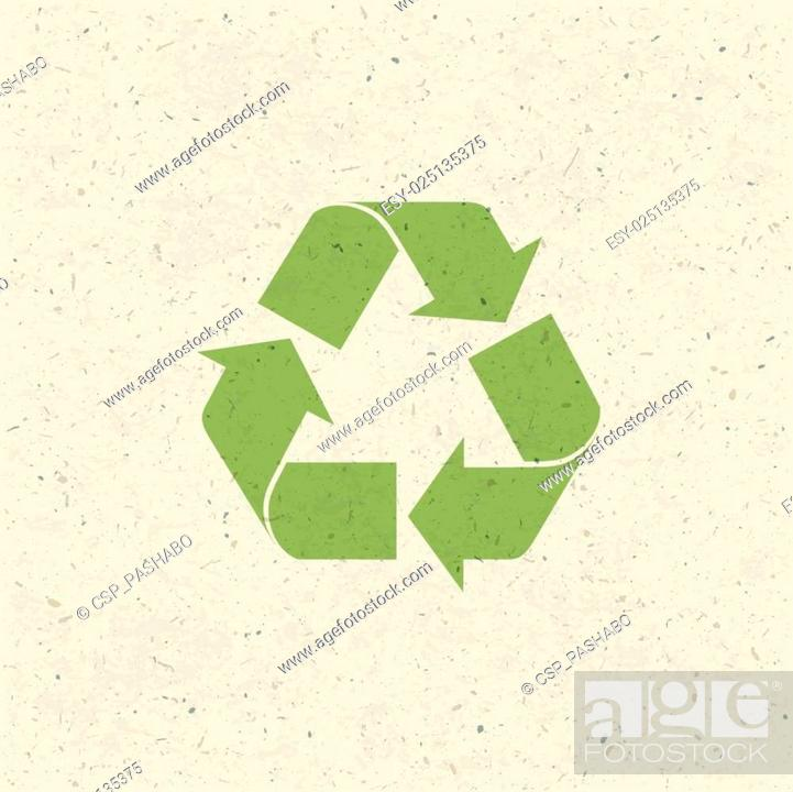 Stock Vector: Recycled symbol on paper texture. Design set, Vector.