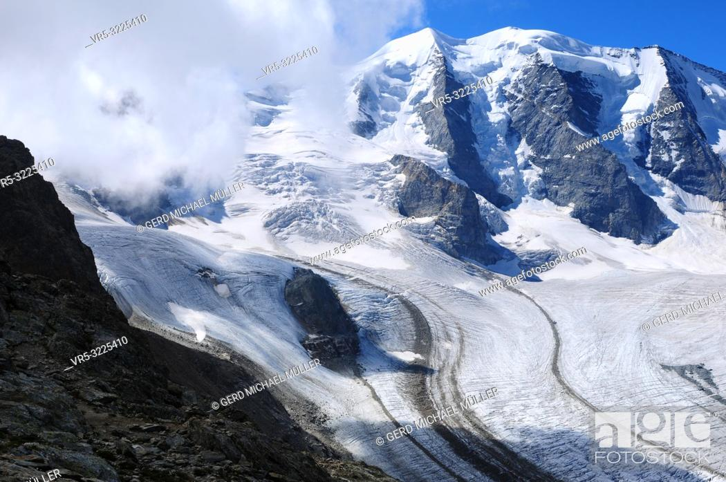 Stock Photo: Swiss Alps: The peaks of the Bernina mountain range at Diavolezza in the upper Engadin in canton Graubünden. Due to the global climate change the glaciers and.