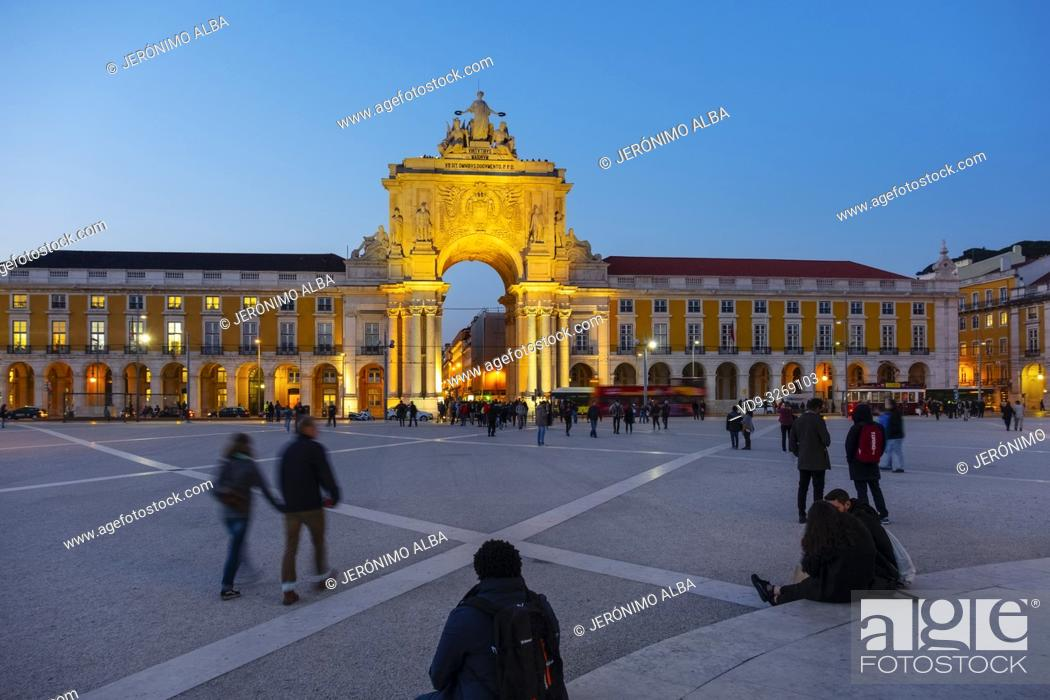 Stock Photo: Triumphal Arch of Rua Augusta at dusk, Commerce Square. Lisbon, Portugal. Europe.
