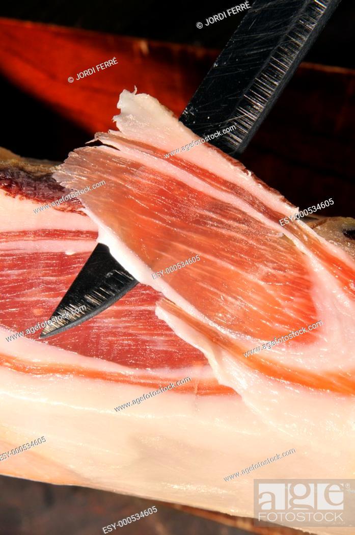 Imagen: Cured ham slice, Loncha de Jamón curado ibérico bellota paletilla,.