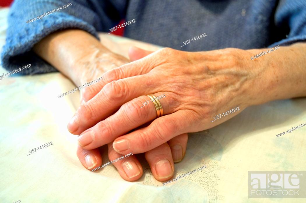 Stock Photo: Old woman's hands. Close view.