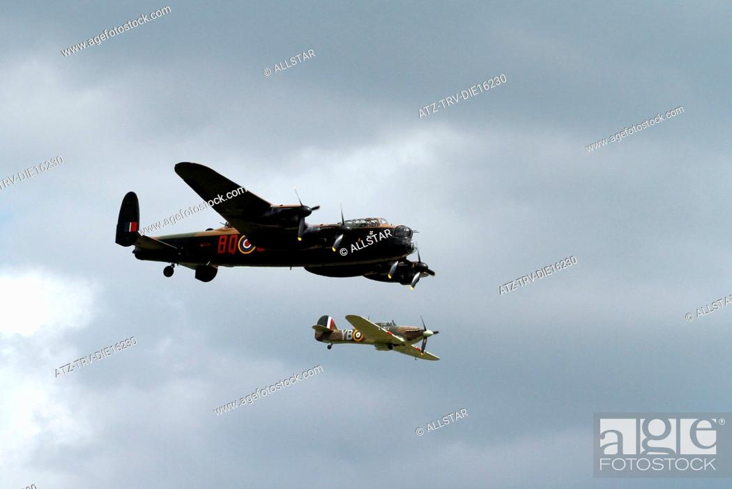 Stock Photo: AVRO LANCASTER B1 PA474 & HAWKER HURRICANE LF363 MK IIC; BATTLE OF BRITAIN MEMORIAL FLIGHT; 02/07/2011.