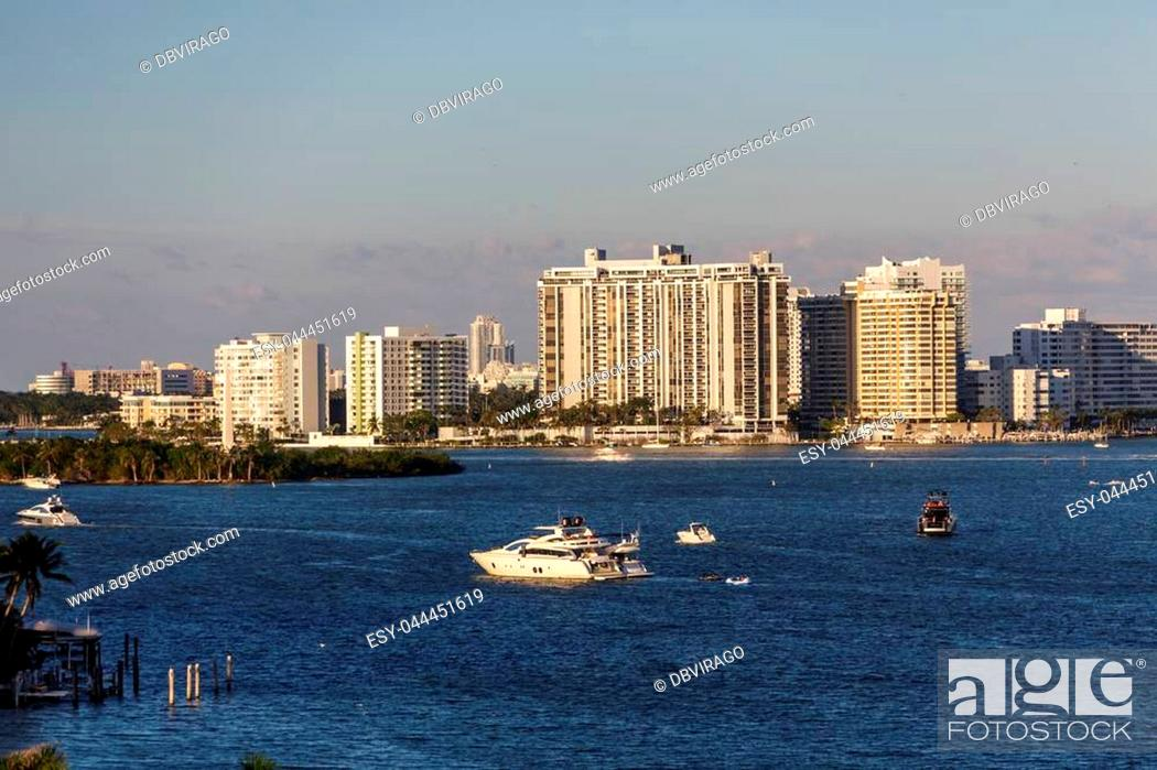 Stock Photo: Yachts and Pleasure boat by White Condos in Miami.