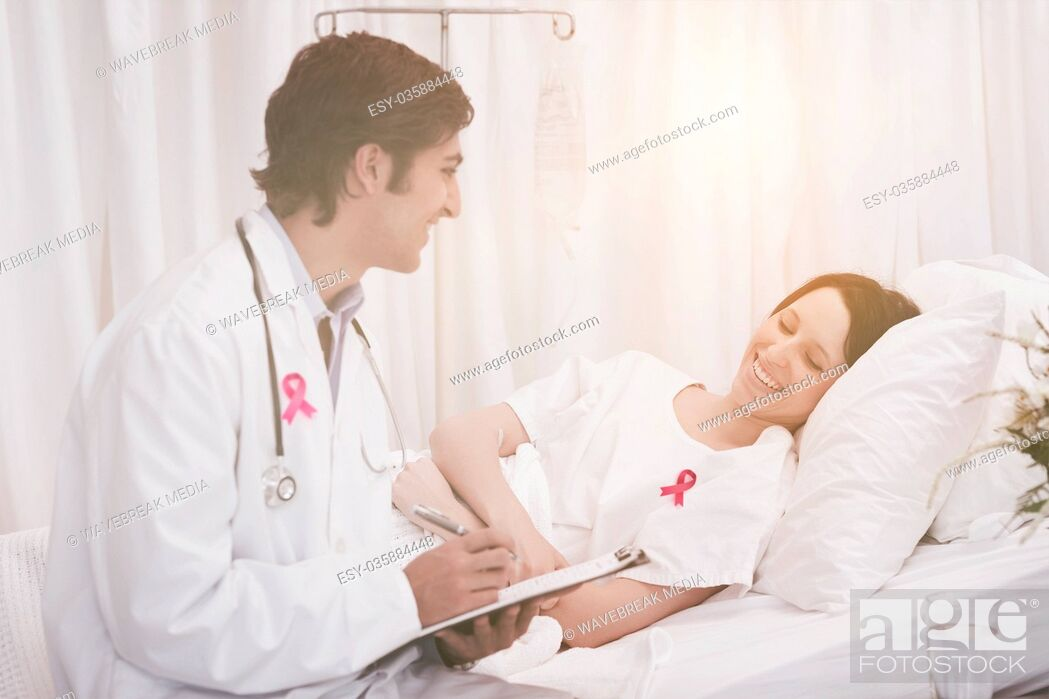 Stock Photo: Composite image of breast cancer awareness ribbon.